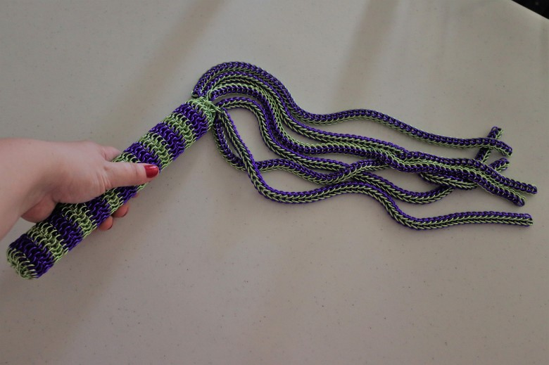 Mistress Tetra's Lime Green and Purple Flogger.jpg